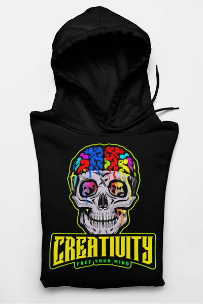 CREATIVITY/FREE YOUR MIND/ DEEP BLACK HOODIE