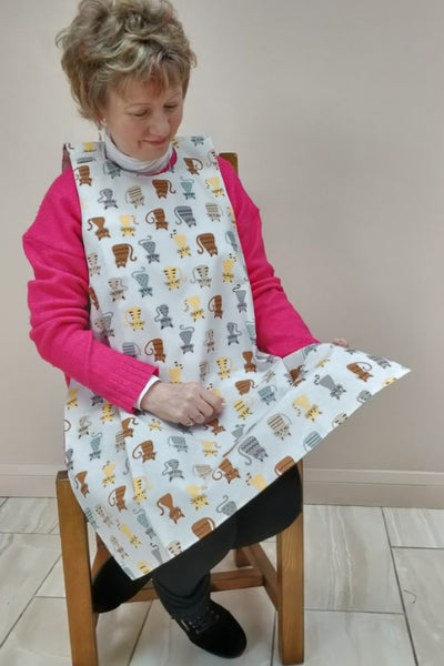 Cats design Dining drApron® / clothing protector. So much better than an adult bib Colourful pictures of cats