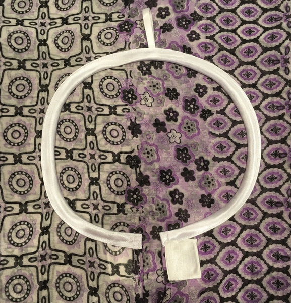NeverNaked(tm) Shower Drapron® - Purple print