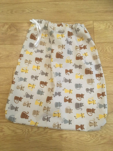 Large drawstring washbag for uniforms to avoid infection from Covid etc Cats design