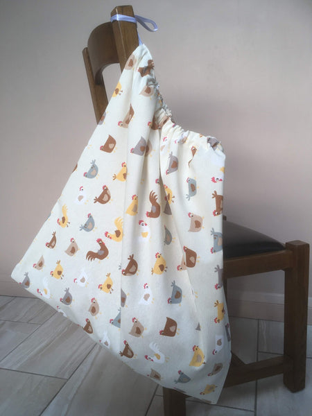 Large drawstring washbag for uniforms to avoid infection from Covid etc Chickens design