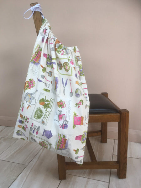 Large drawstring washbag for uniforms to help avoid infection from Covid etc Garden design