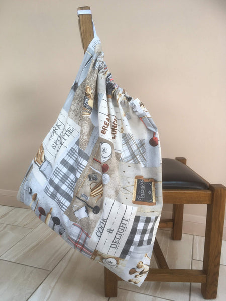 Large drawstring washbag for uniforms to avoid infection from Covid etc Neutral Baking design