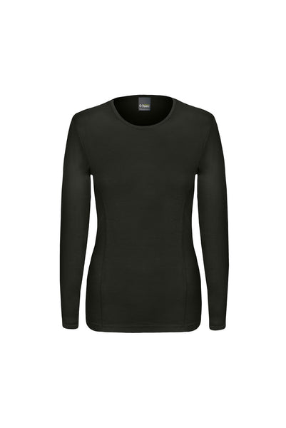 Long Sleeved, crew neck, merino wool top in black