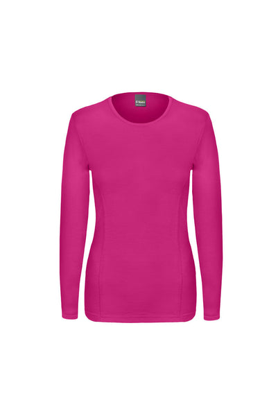 Long Sleeved, crew neck, merino wool top in fuchsia