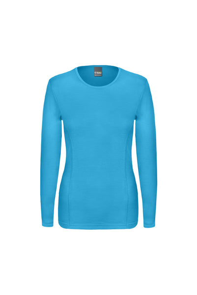 Long Sleeved, crew neck, merino wool top in turquoise