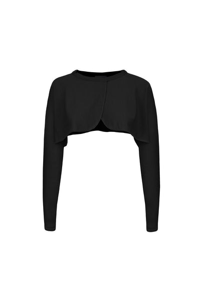 Front view of black merino sleeves - can be worn as a bolero cardigan or as a bed jacket. Long sleeved Also available in turquoise and fuchsia