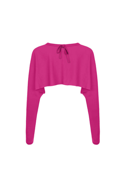 Back view of fuchsia merino sleeves - can be worn as a bolero cardigan or as a bed jacket. Long sleeved Also available in turquoise and black