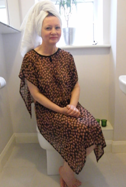 Shower Drapron® / dementia dignity showering cape drapes over shoulders to be left on whilst showering so dignity is maintained Black/Tan cherries