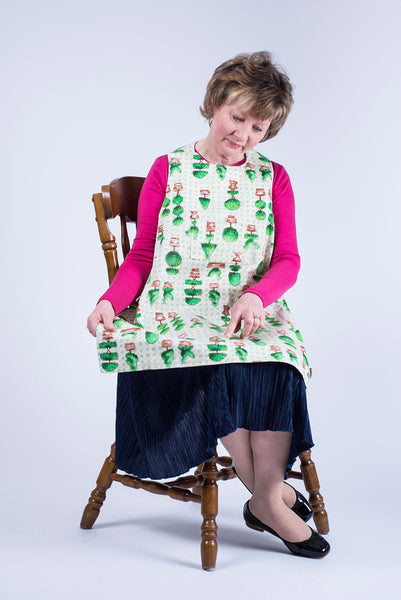 Topiary design Dining Drapron / clothing protector. So much better than an adult bib
