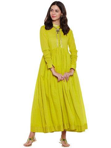 Green flared anarkali with gota work