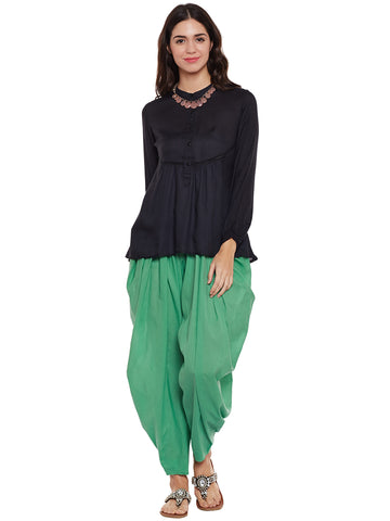 Green Flared Dhoti Pant