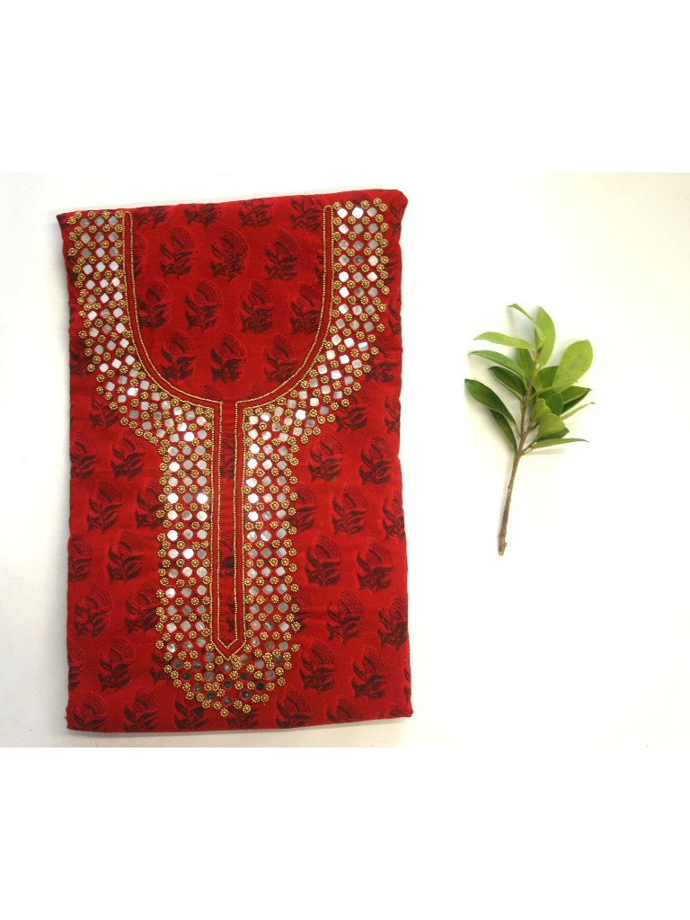 Red hand block printed suit set