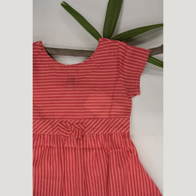 PEACH PRINTED STRIPE DRESS