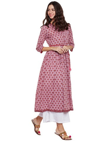 COTTON LONG KURTA WITH FRONT LOOPS