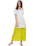 Yellowish Green Flared Cotton Palazzos