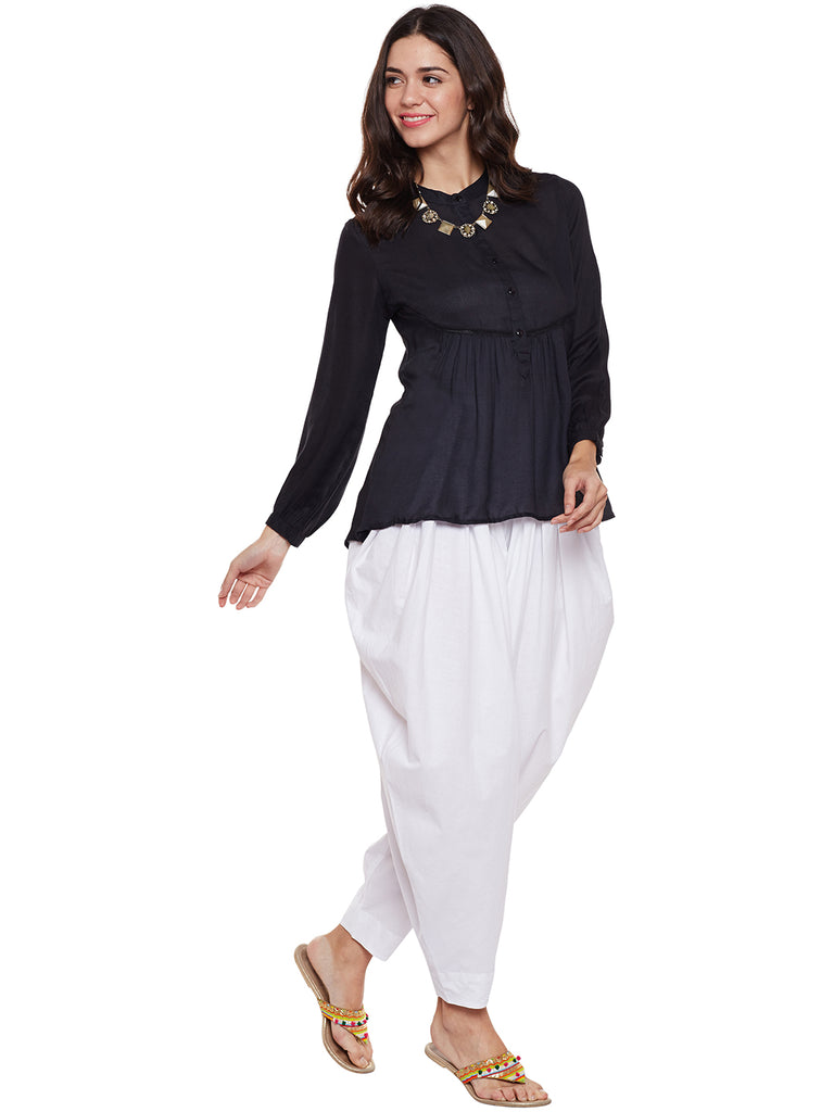 Off White Flared Dhoti Pant