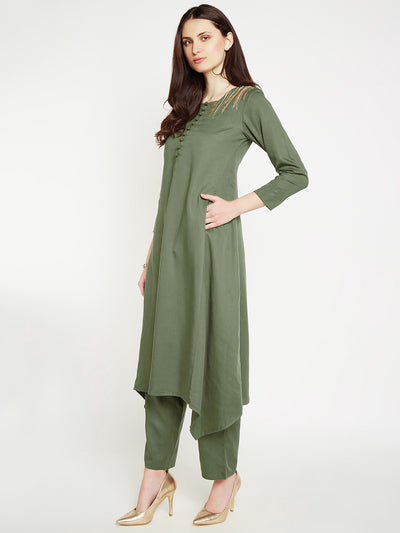 LYLA Woman FRONT EMBROIDERED REGULAR FITTED FLARED KURTA