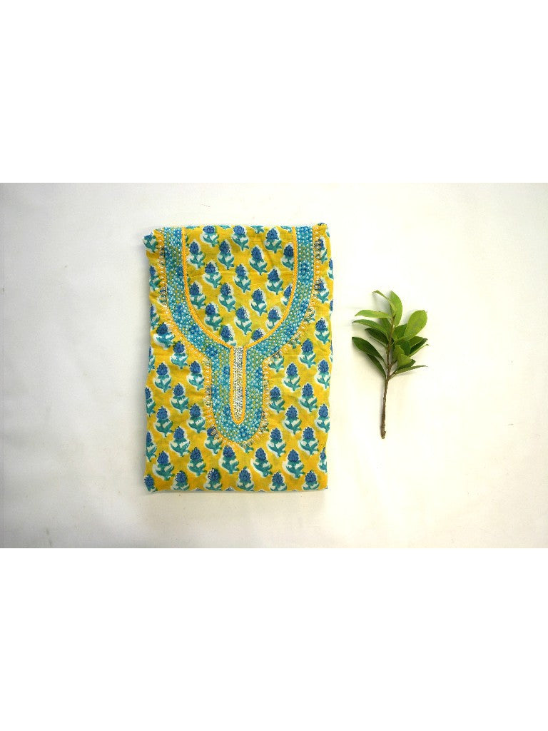 Yellow hand block printed suit set