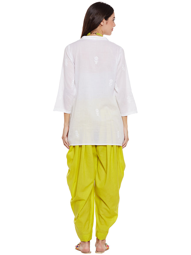 Yellowish Green Flared Dhoti Pant