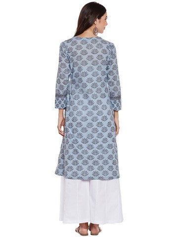 COTTON KURTA WITH OVERLAP PRINT