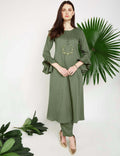 LYLA Woman FRONT EMBROIDERED FLARED KURTA
