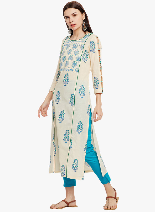 Cream and Green hand Block Printed Straight Kurta with Detailed Sleeve