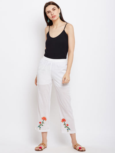 solid cotton white pant