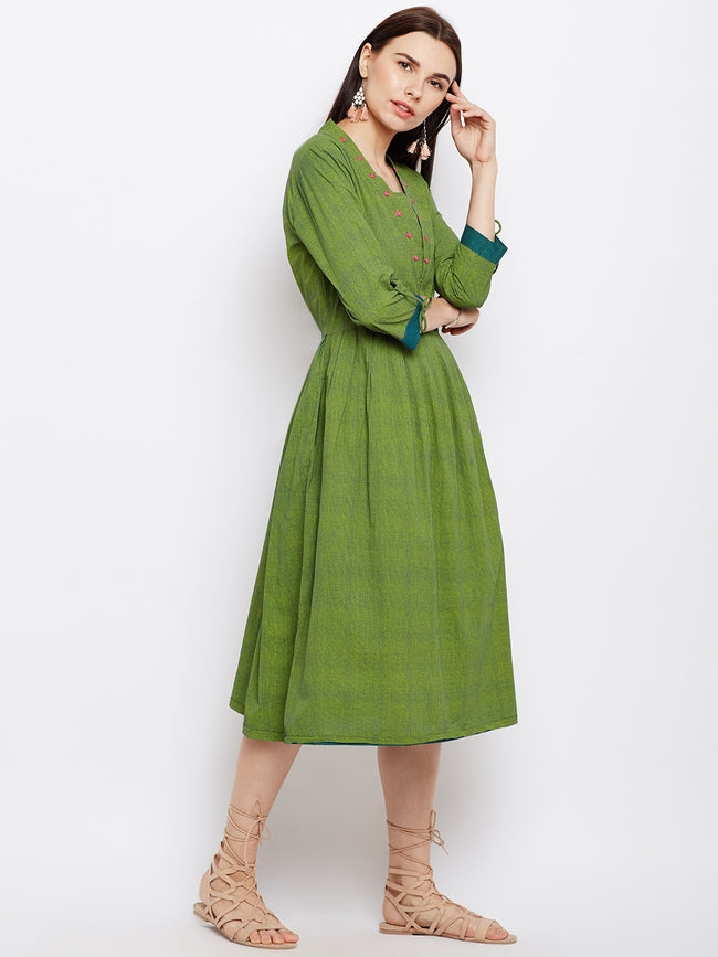Green dot  printed dress with hand work