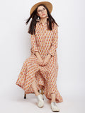 Beige block printed flared shirt dress