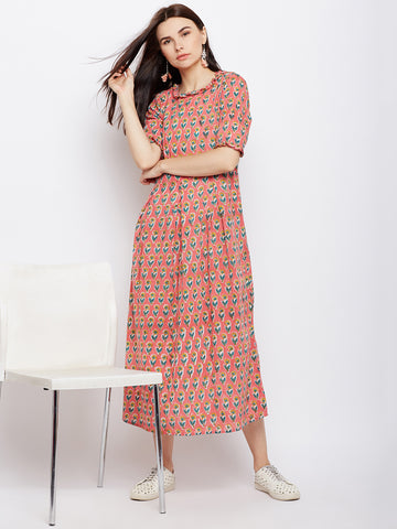 Pink block printed dress