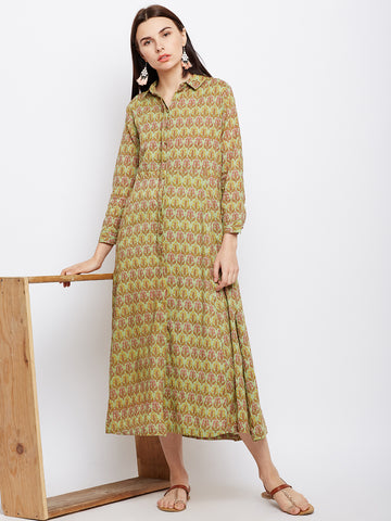 Green block printed flared shirt dress
