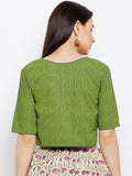 Green dot printed blouse