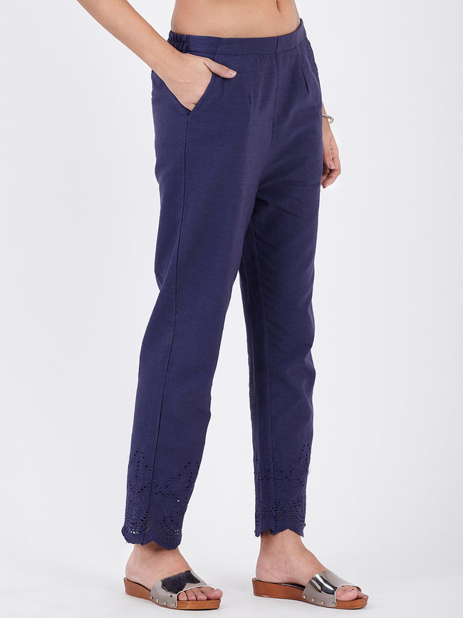 LYLA WOMAN KHADI STRAIGHT PANT SCHIFFLI WORK
