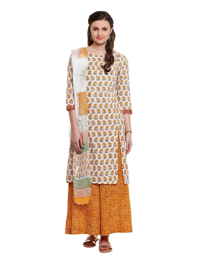 Lyla Cotton Floral Suit with Palazzo & Dupatta