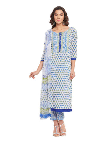 Off White Block Printed Cotton Suit Set