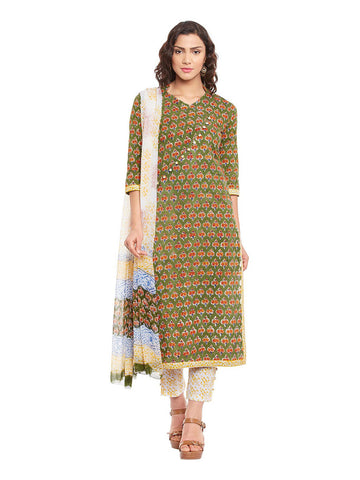 Green Block Printed Cotton Suit