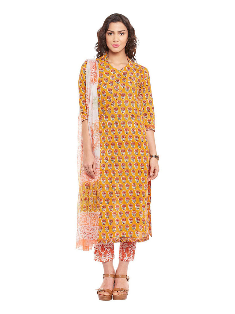 Yellow Block Printed Cotton Suit