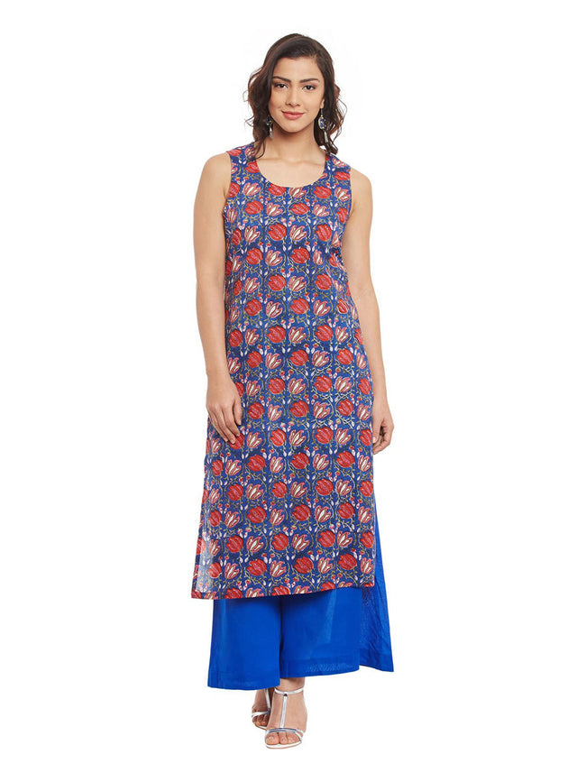 Blue Cotton Kurta With Kota Jacket & Chiffon Dupatta