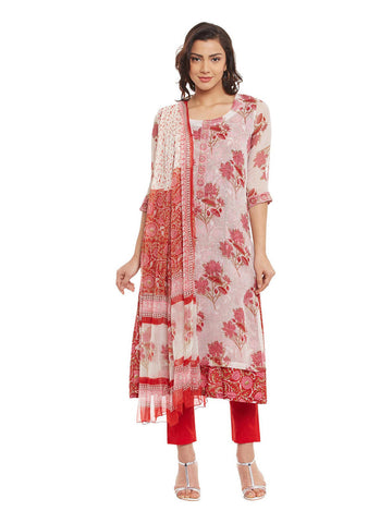 Red Cotton Kurta With Kota Layering & Chiffon Dupatta