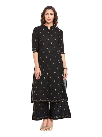 Black Gold Printed Cotton Kurta & Plazzo Set