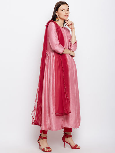 Pink Flared Kurta with Contrast Dupatta