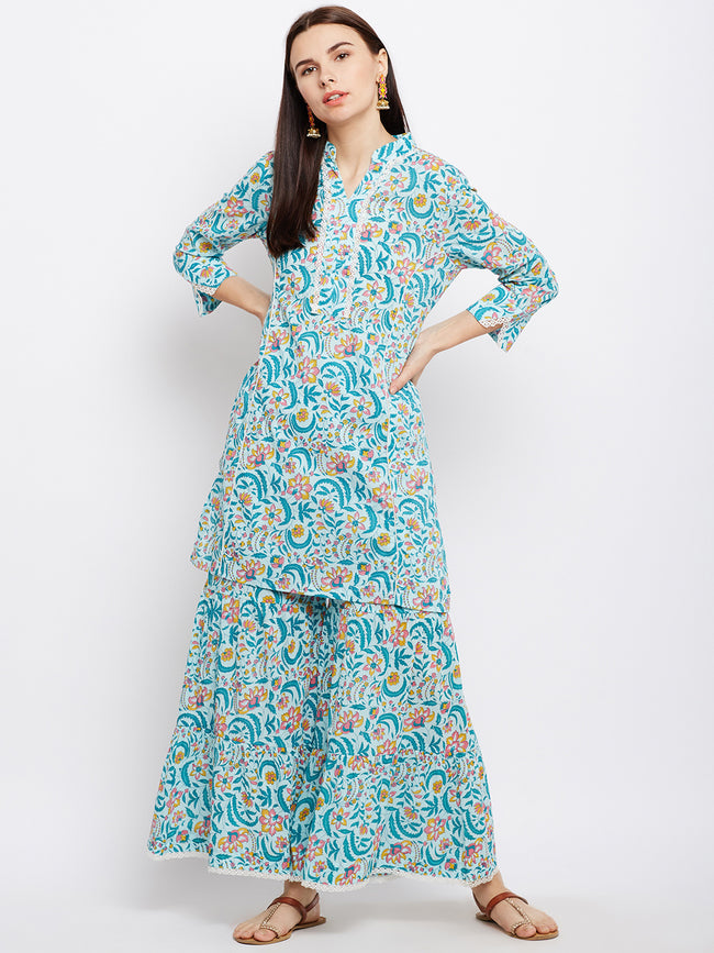 Powder blue short kurta and sharara set