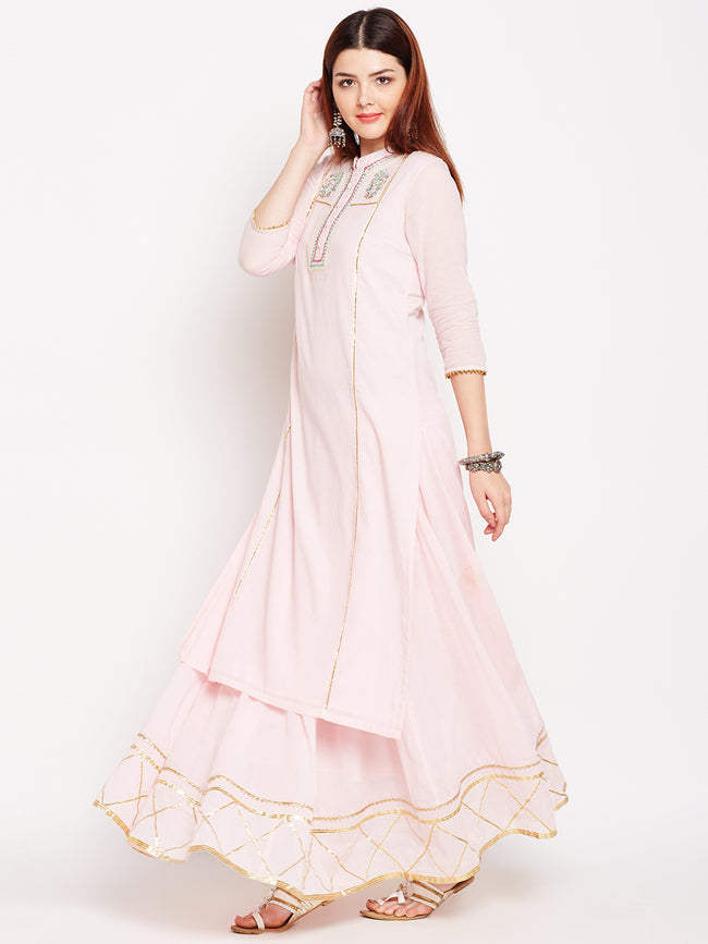 Lyla Gota Skirt And Kurta Set With Embroidery