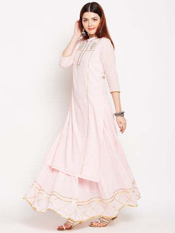 Lyla Gota Skirt And Baby Pink Kurta Set With Embroidery