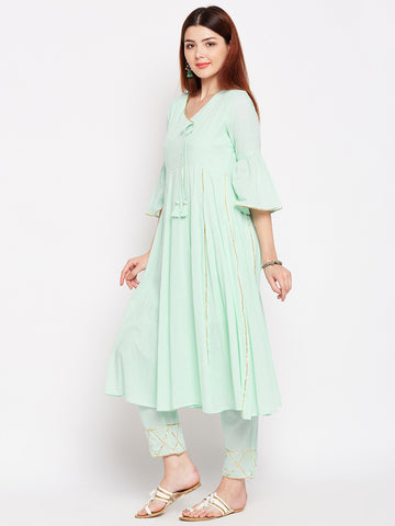 Lyla Gota Sea Green Kurta And Pant Set