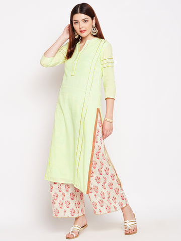 Lyla Gota Cream Kurta And Palazzo Set With Embroidery
