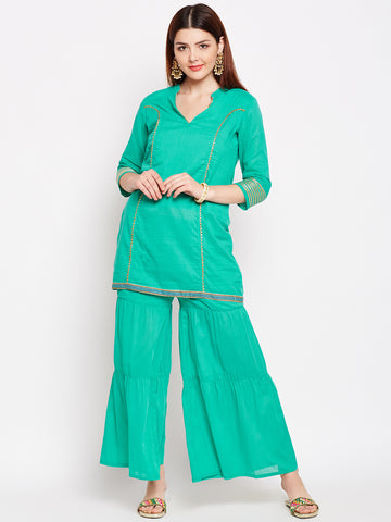 Lyla Gota Green Sharara And Short Kurta Set