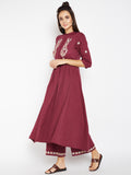 Lyla Women Yoke Embroidered Tunic Style Long Kurta