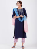 LYLA WOMAN STRAIGHT KHADI KURTA WITH MIRROR AND EMBROIDERY DETAILING